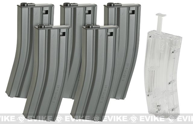 G&G 30 Round Real-Sim Metal Magazines for M4/M16 Series Airsoft AEGs with 420 Round Speed Loader - Box of 5