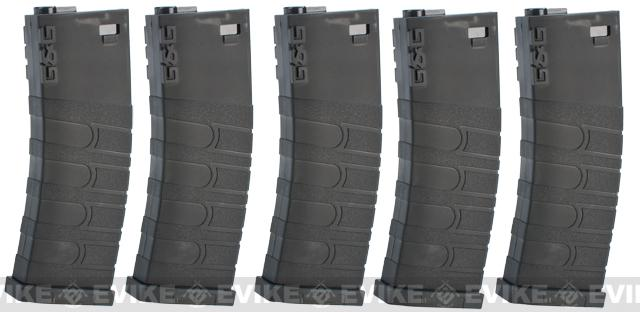 G&G 120rd Polymer Mid-cap Magazine for M4 / M16 Series Airsoft AEG Rifles - Set of 5 (Color: Black)