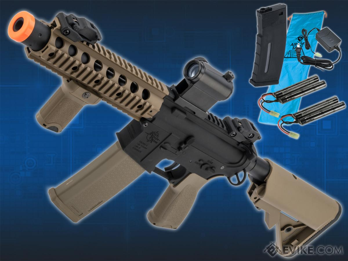 Go Airsoft Package Specna Arms / Rock River Arms Licensed EDGE Series M4 AEG (Model: M4 SBR Suppressed / 2-Tone Black & Tan SA-E05)