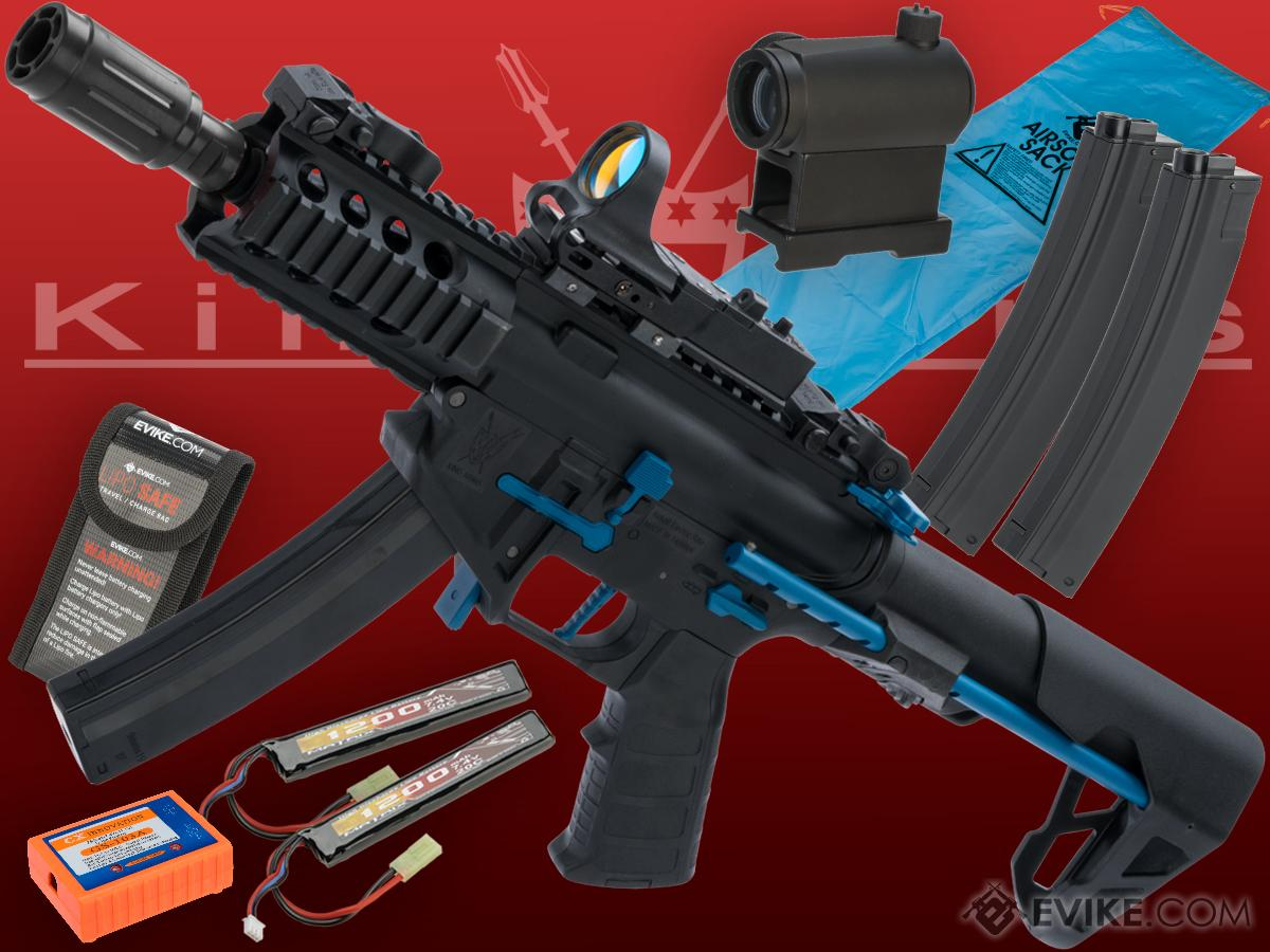 Go Airsoft Package King Arms PDW 9mm SBR Airsoft AEG Rifle (Color: Black & Blue / Shorty with Optic)