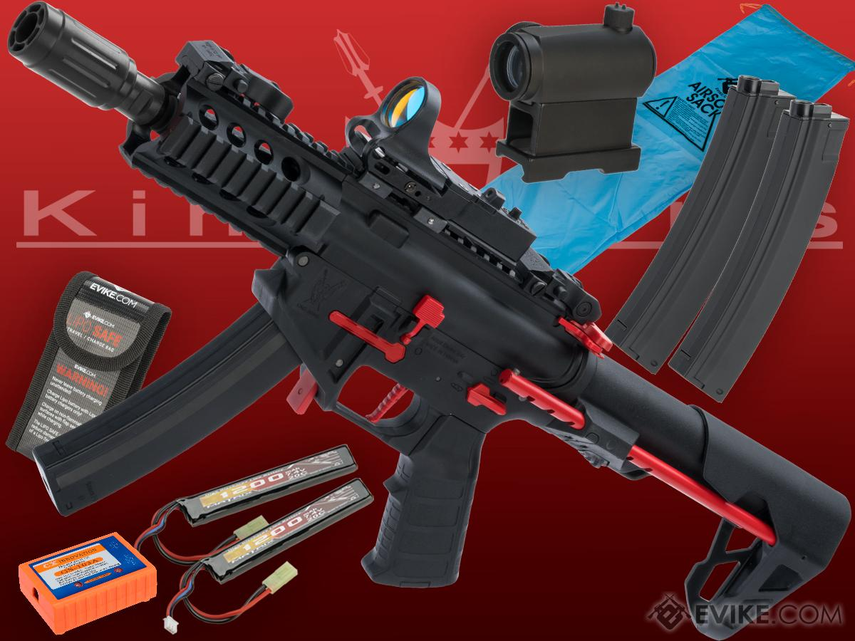 Go Airsoft Package King Arms PDW 9mm SBR Airsoft AEG Rifle (Color: Black & Red / Shorty with Optic)