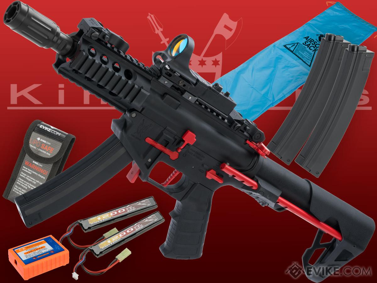 Go Airsoft Package King Arms PDW 9mm SBR Airsoft AEG Rifle (Color: Black & Red / Shorty)