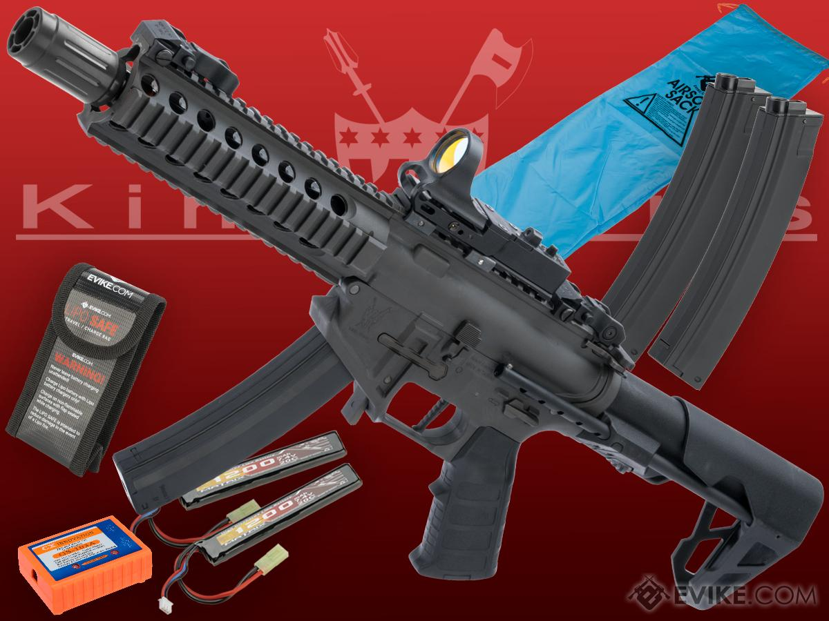 Go Airsoft Package King Arms PDW 9mm SBR Airsoft AEG Rifle (Color: Grey / Long)