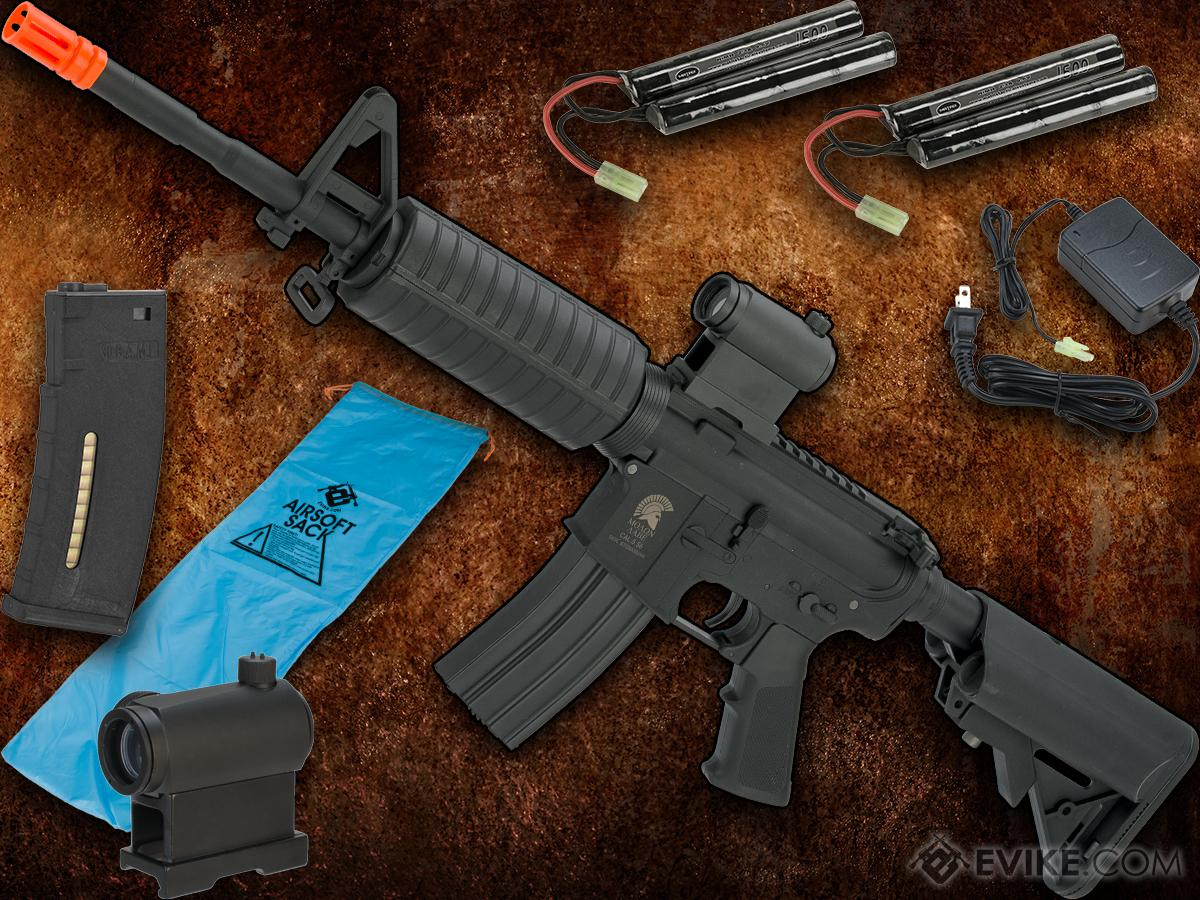 Go Airsoft Starter Package Avengers Molon Labe Lipo Ready Airsoft AEG Rifle w/ A2 Micro-Switch Gearbox (Model: Black M4A1)
