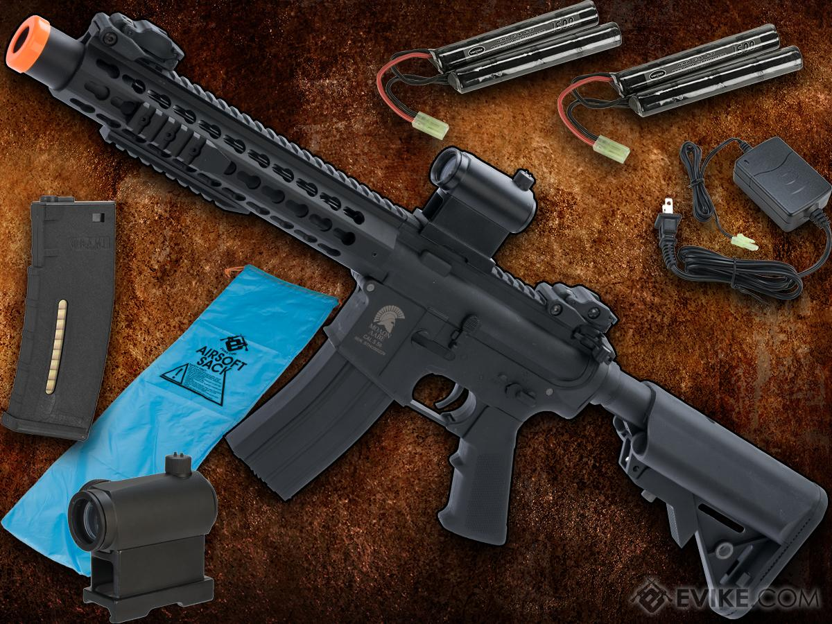 Go Airsoft Package Matrix Sportsline M4 Airsoft AEG Rifle w/ G2 Micro-Switch Gearbox (Model: 10 Keymod w/ Suppressor / Black)