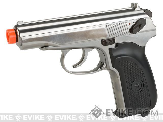 Gun Heaven CO2 Powered Makarov Blowback Airsoft Pistol (Color: Silver)