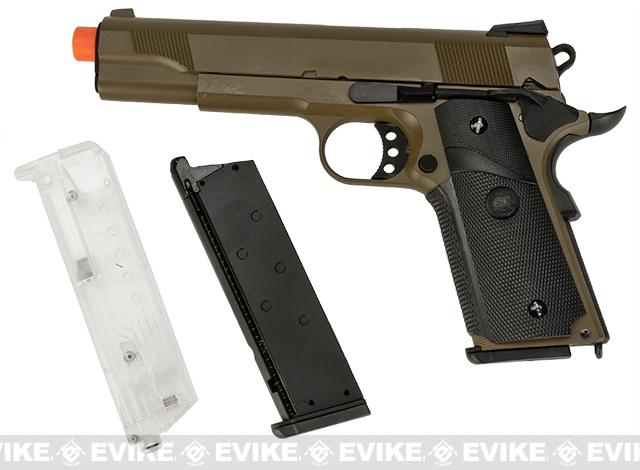 SRC Metal SR-1911 M1911 MEU Desert Airsoft Green Gas Blow Back Pistol Kit - Dark Earth