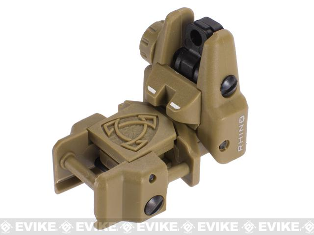 Rhino Flip-Up Tactical Back-Up Rifle Sight by APS - Rear Sight (Color: Dark Earth)