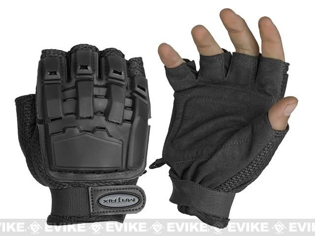 Matrix Half Finger Tactical Gloves - Black (Size: XS/S)