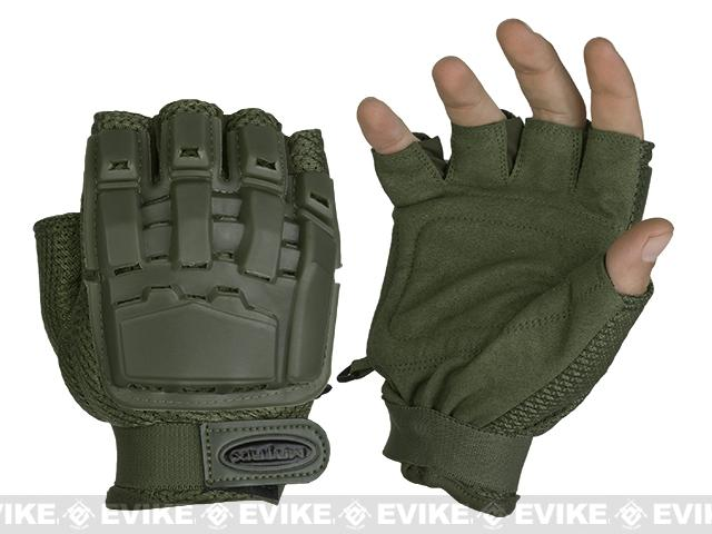 Matrix Half Finger Tactical Gloves (Color: OD Green / MD-LG)