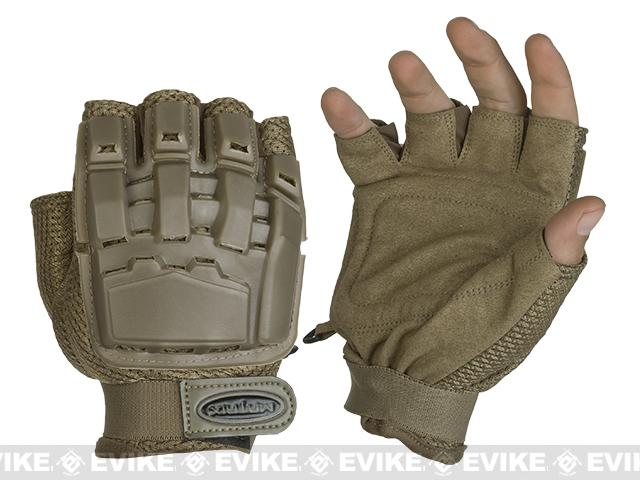 Matrix Half Finger Tactical Gloves - Tan (Size: XS/S)