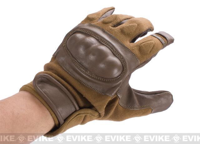 Nomex Hard Shell Knuckle Tactical Gloves - Brown (Size: Medium)