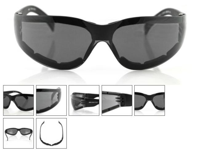 Frameless Shooting Glasses : Bobster SHIELD III Shooting Sunglasses ANTI-FOG SMOKED ...