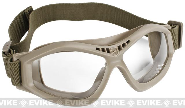 Military Style Compact Rubber Frame Eye Goggles - Dark Earth