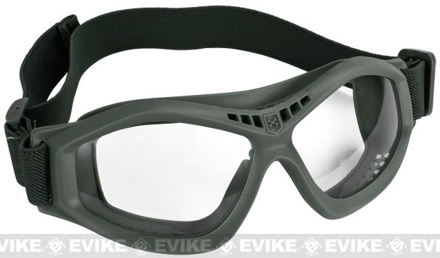 Military Style Compact Rubber Frame Eye Goggles - Foliage Green