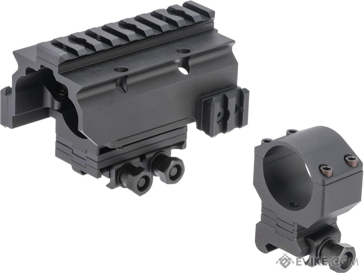 G&P 30mm Height Adjustable Sniper Scope Mount w/ Railed Hood for Rifle Scopes (Color: Black)