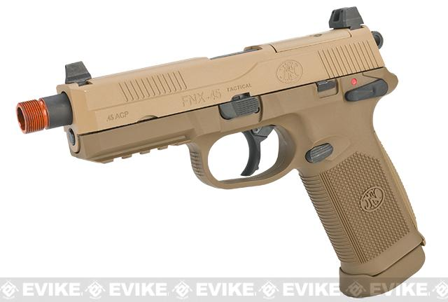 FN Herstal FNX-45 Tactical Airsoft Gas Blowback Pistol by Cybergun (Color: Dark Earth / Gun)
