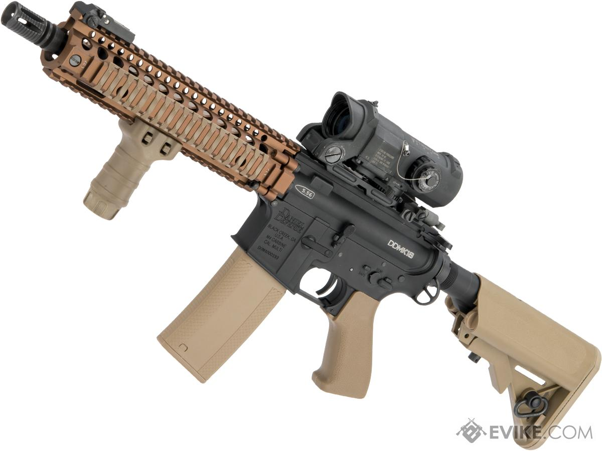 Pre-Order ETA July 2018 EMG MK18 Custom Airsoft AEG with i5 Gearbox System and DD Receiver / Handguard (Color: Black / Tan)