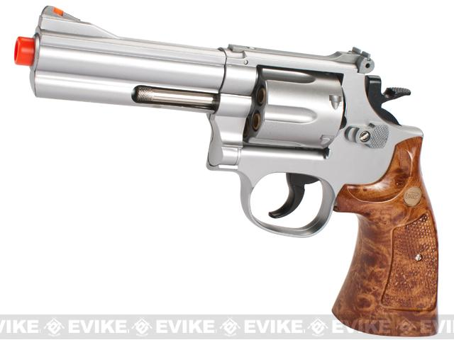 UHC Gas Powered 686 Airosft Revolver (Length: 4 / Silver / Imitation Wood Grip)