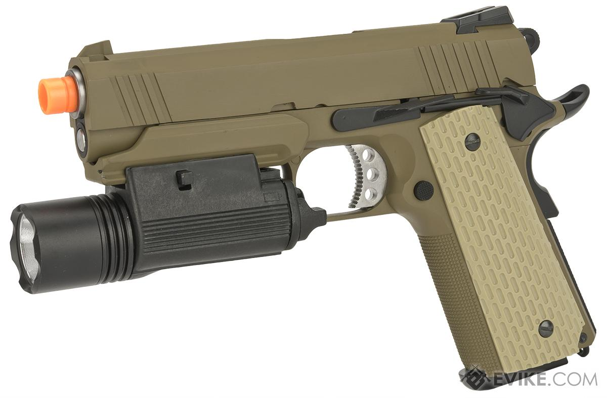 Pre-Order ETA July 2018 WE-Tech Full Metal 1911 Desert Warrior Socom 4.3 Airsoft Gas Blowback Pistol - Tan (Package: with Weapon Light)
