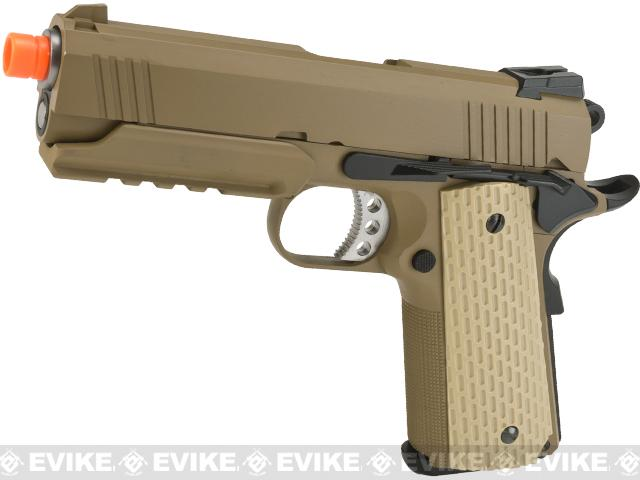 Pre-Order ETA October 2017 WE-Tech Full Metal 1911 Desert Warrior Socom 4.3 Airsoft Gas Blowback Pistol - Tan (Package: Gun Only)