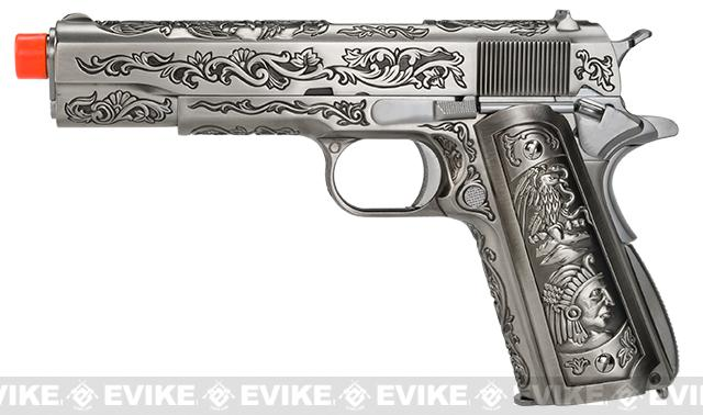 Pre-Order ETA September 2019 WE-Tech Full Metal Filigree 1911 Heavy Weight  Airsoft Gas Blowback Pistol - Silver