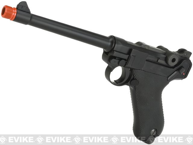 WE WWII Full Size / Metal Luger Airsoft Gas Blowback  (Color: Black / 6 Inch)