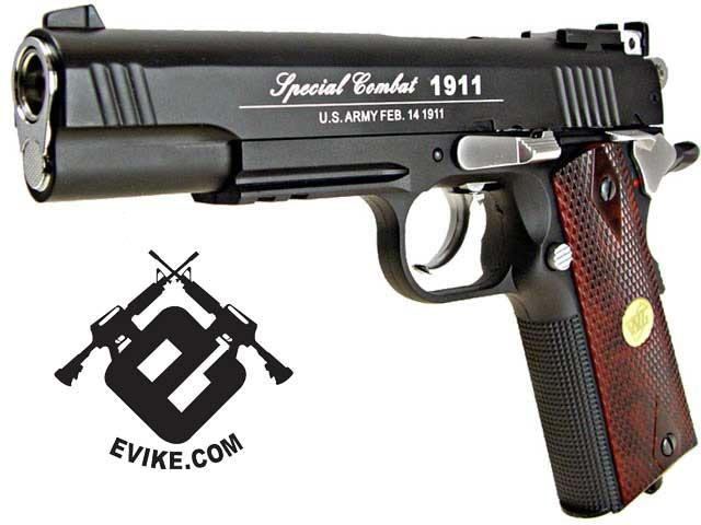 WG Co2 Powered Special Combat 1911 Airsoft Gas Gun (Color: Black)