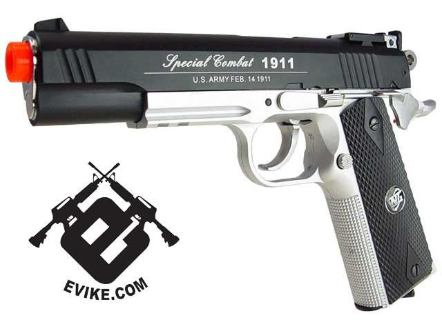 WG Co2 Powered Special Combat 1911 Airsoft Gas Gun (Color: Two-Tone)