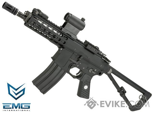 EMG Knights Armament Airsoft PDW M2 Compact Gas Blowback Airsoft Rifle (Model: Black 400FPS / Green Gas Magazine)
