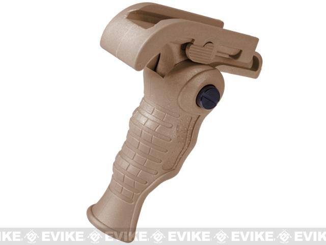 Avengers Airsoft Tactical Ergonomic Folding Vertical Support Grip for RIS (Color: Dark Earth)