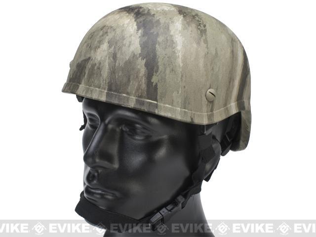 MICH 2001 Fiberglass Airsoft Helmet - Watertransfer / Arid Camo