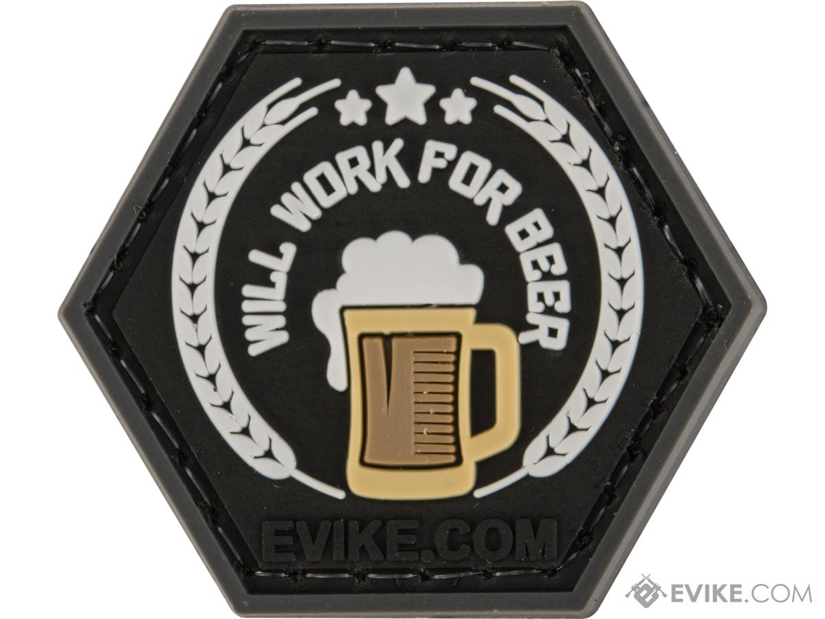 Operator Profile PVC Hex Patch Catchphrase Series 2 (Style: Will Work For Beer)