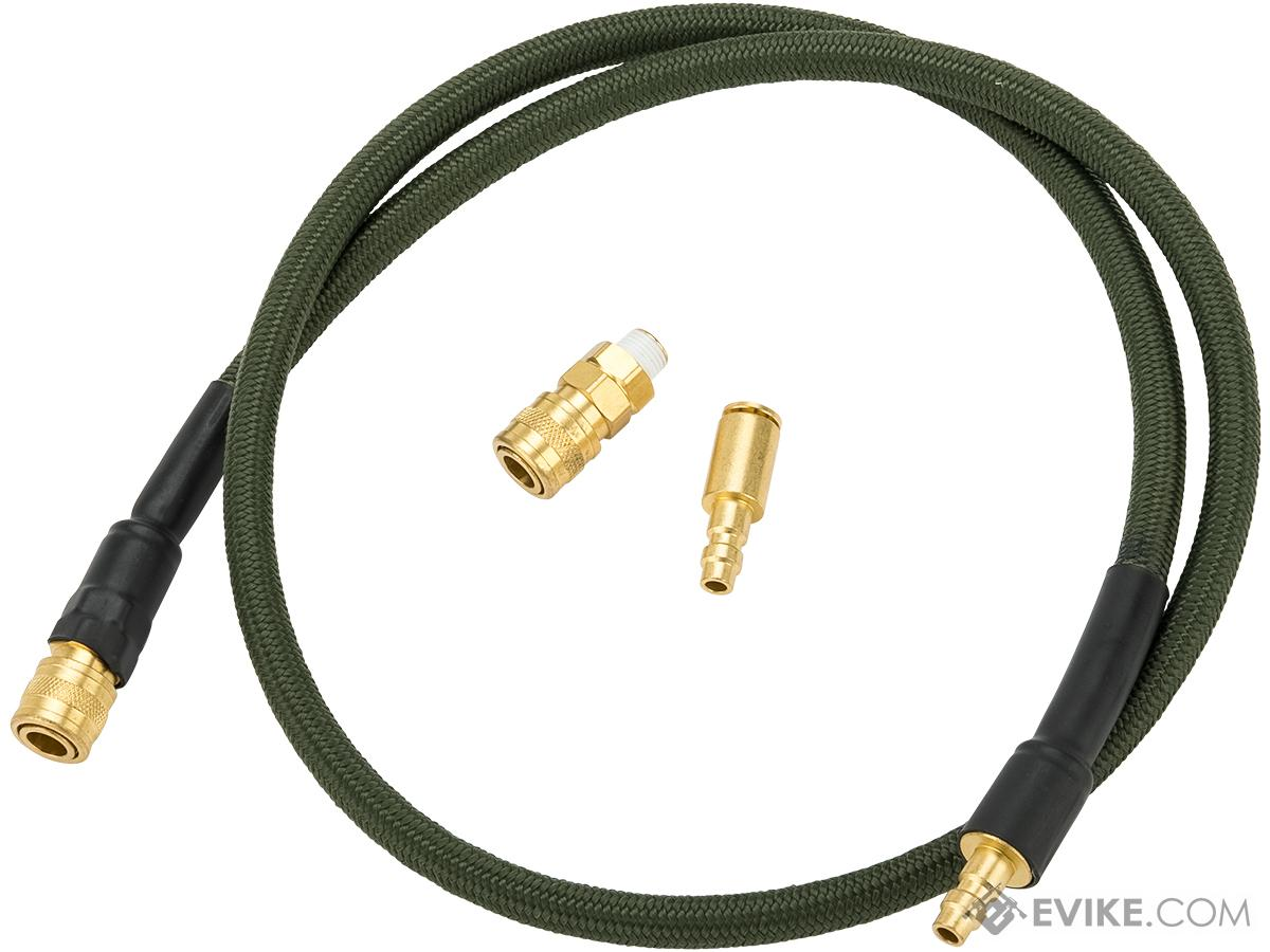Balystik Airsoft 8mm HPA Line with QD Couplers (Color: OD Green)