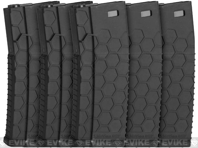 Hexmag Airsoft 120rds Polymer Mid-Cap Magazine for M4 / M16 Series Airsoft AEG Rifles(Color: Black / Pack of 5)