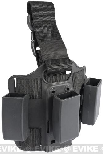 Tactical Hard Shell Drop Leg Quick Draw Triple Mag Carrier - MP5