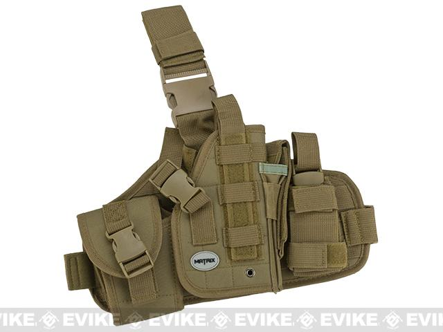 Matrix Drop Leg MOLLE Platform w/ Holster and Pouch Set (Color: Tan)
