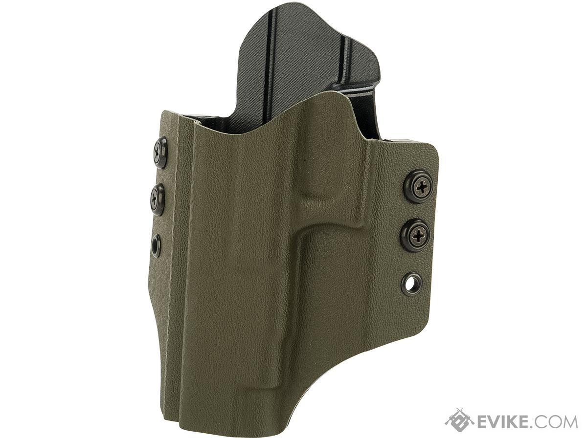 High Speed Gear Inc OWB Kydex Holster for Glock Pistols (Model: Glock 34 35 Competition / Left Hand / Olive Drab)