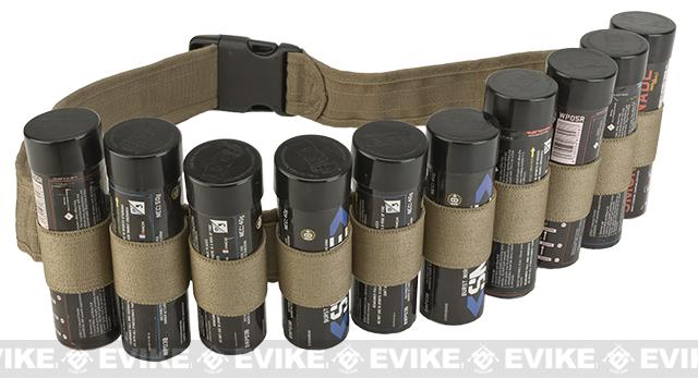 Enola Gaye Hang Ten Belt / Bandolier for Airsoft Smoke Grenades (Color: Tan)