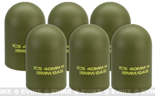ICS Airsoft 40mm Replacement Polymer Grenade Cap (Set of 6)