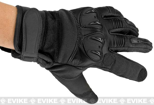 Matrix Tactical Knuckle Protector Leather Shooting Gloves (Color: Black / Medium)