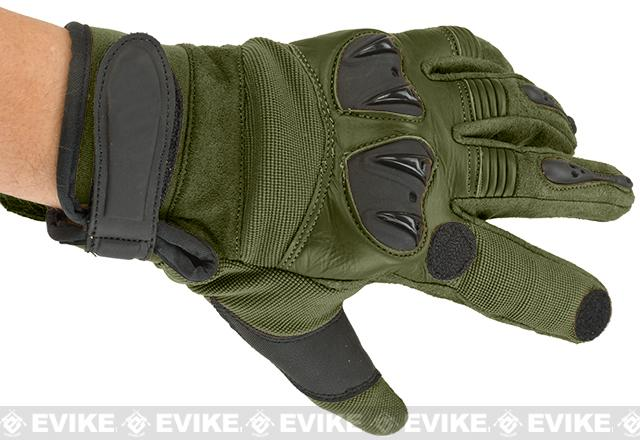 Matrix Tactical Knuckle Protector Leather Shooting Gloves (Color: OD Green / Medium)