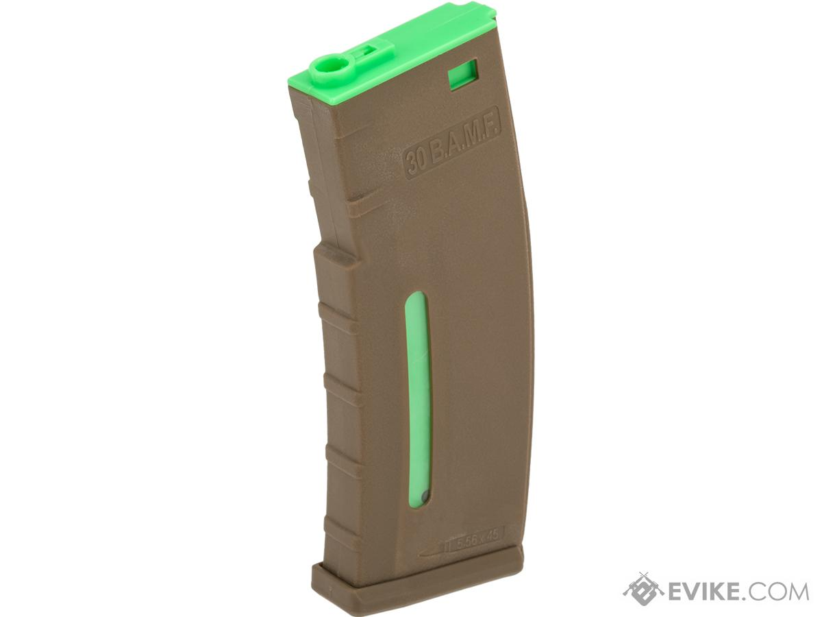 Evike.com BAMF 190rd Polymer Mid-Cap Magazine for M4 / M16 Series Airsoft AEG Rifles (Color: Tan w/ Green / Single Magazine)