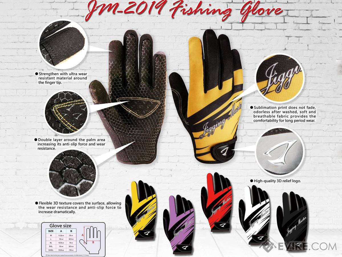 Jigging Master New 2019 3D Palm Fishing Gloves (Color: Red-Black / Medium)