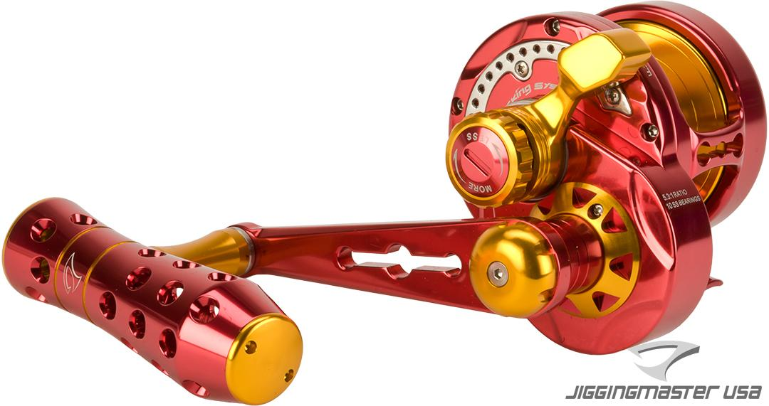 Jigging Master Monster Game High Speed Fishing Reel - Red / Gold (Size: PE3)