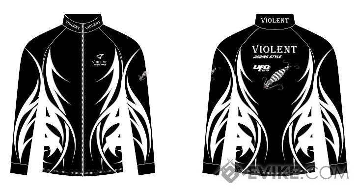 Jigging Violent Jigging Long Sleeve Fishing Shirt w/ Zipper (Model: Black / Medium)