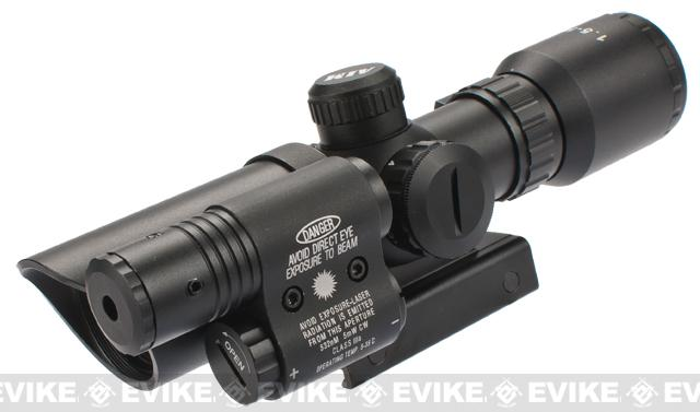 AIM Sports 1.5-5x32 Dual Illuminated Tactical Scope w/ Green Laser (Model: Thumbscrew Mount)
