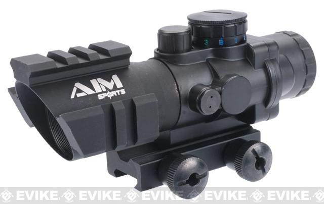 AIM Sports 4X32 Tri-Illuminated Scope with Tri-Weaver Rails and QD Rail Mount