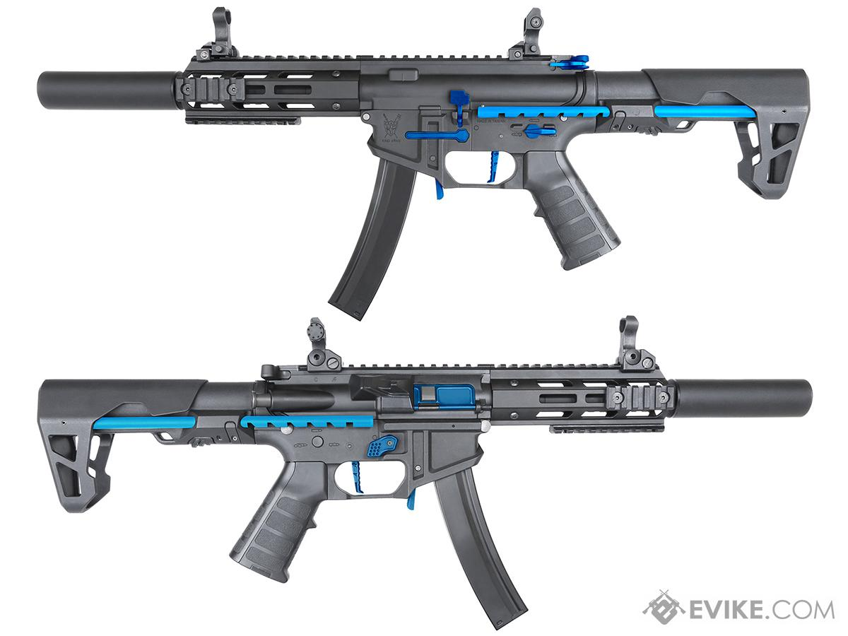 Go Airsoft Package King Arms PDW 9mm SBR Airsoft AEG Rifle (Color: Black & Blue / Silenced M-LOK with Optic)