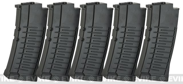 120 Round Mid-Cap Polymer Magazine for VSS Airsoft AEG Sniper Rifles by King Arms - Set of 5  (Long)